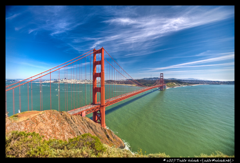 Daytime view of the golden gate bridge and the san francisco bay