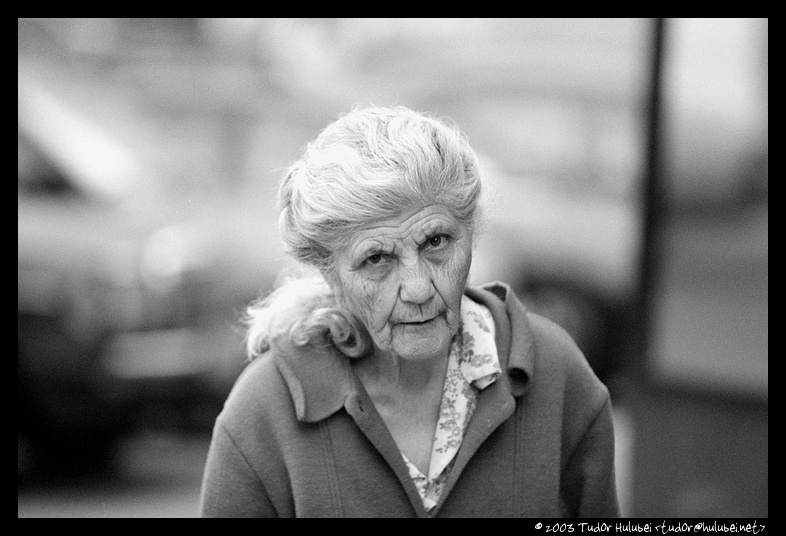 Old woman in Bucharest, Romania; (Click for next photo)